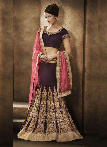 Wine Color Velvet Women's Semi Stitched Lehenga - RS1856