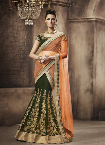 Olive Color Velvet Women's Semi Stitched Lehenga - RS1857