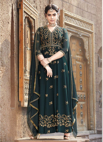Dark Green Color Faux Georgette Women's Semi Stitched Salwar Suit - RS1872