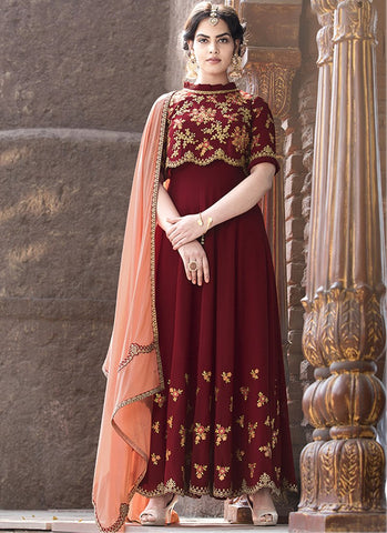 Maroon Color Faux Georgette Women's Semi Stitched Salwar Suit - RS1873