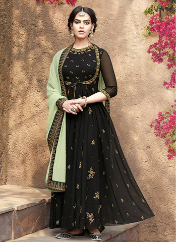 Black Color Faux Georgette Women's Semi Stitched Salwar Suit - RS1874