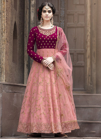 Maroon and Peach Color Faux Georgette Women's Semi Stitched Salwar Suit - RS1875
