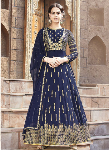Royal Blue Color Faux Georgette Women's Semi Stitched Salwar Suit - RS1876