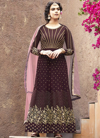 Wine Color Faux Georgette Women's Semi Stitched Salwar Suit - RS1877