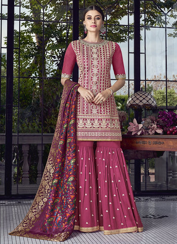 Pink Color Silk Women's Semi Stitched Salwar Suit - RS1878
