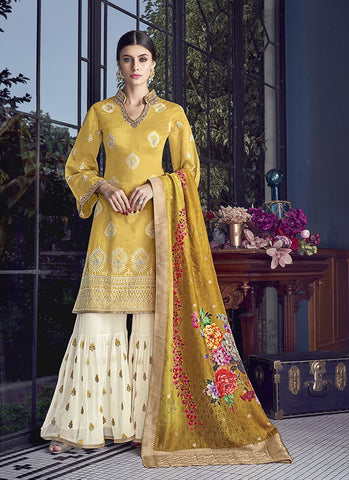 Yellow Color Silk Women's Semi Stitched Salwar Suit - RS1879