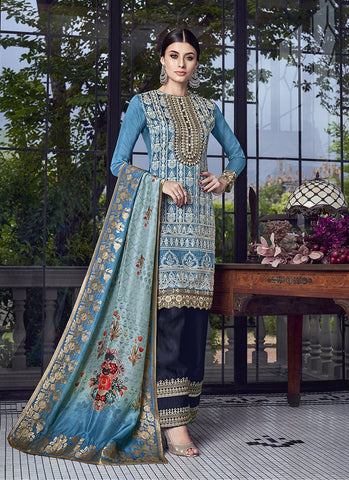 Blue Color Silk Women's Semi Stitched Salwar Suit - RS1880