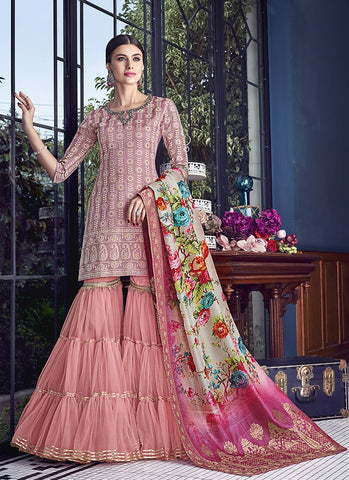 Pink Color Silk Women's Semi Stitched Salwar Suit - RS1881