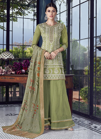 Pista Green Color Silk Women's Semi Stitched Salwar Suit - RS1882