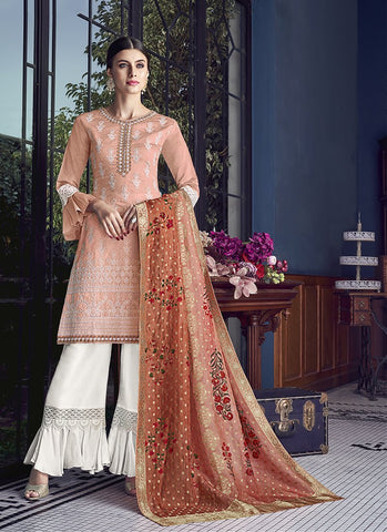 Peach Color Silk Women's Semi Stitched Salwar Suit - RS1883