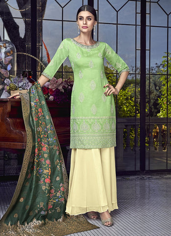 Lime Green Color Silk Women's Semi Stitched Salwar Suit - RS1884