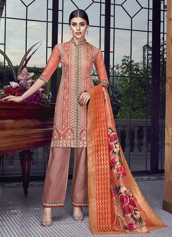 Peach Color Silk Women's Semi Stitched Salwar Suit - RS1885