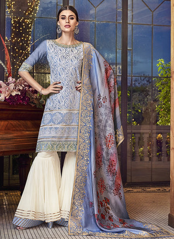 Grey Color Silk Women's Semi Stitched Salwar Suit - RS1886