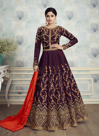 Dark Purple Color Mulbery Silk Women's Semi Stitched Salwar Suit - RS1887