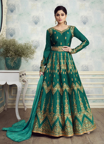 Teal Color Mulbery Silk Women's Semi Stitched Salwar Suit - RS1888