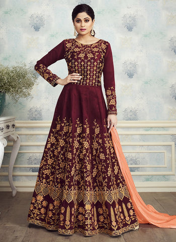Maroon Color Mulbery Silk Women's Semi Stitched Salwar Suit - RS1889