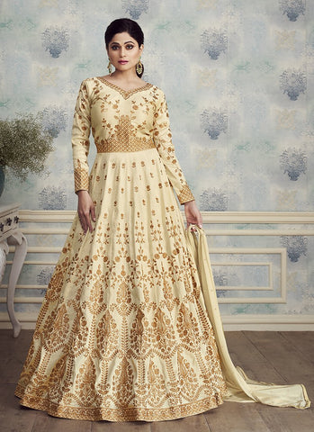 Beige Color Mulbery Silk Women's Semi Stitched Salwar Suit - RS1890