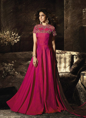 Pink Color Banarasi Silk Women's Semi Stitched Gown - RS1961
