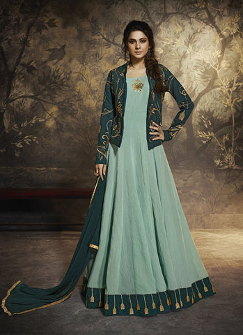 Turquoise Color Bluberry Silk Women's Semi Stitched Gown - RS1962