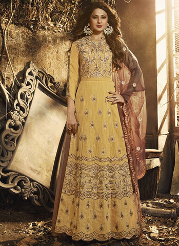 Yellow Color Pure Silk Women's Semi Stitched Gown - RS1964