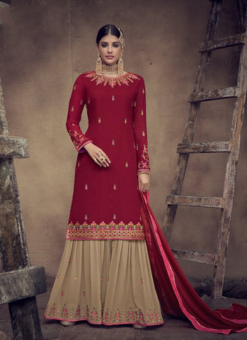 Maroon Color Faux Georgette Women's Semi Stitched Salwar Suit - RS2003
