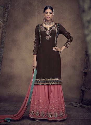Brown Color Faux Georgette Women's Semi Stitched Salwar Suit - RS2004
