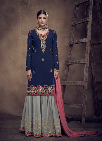 Navy Blue Color Faux Georgette Women's Semi Stitched Salwar Suit - RS2005