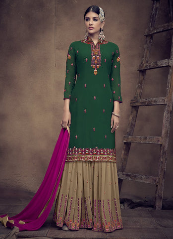 Green Color Faux Georgette Women's Semi Stitched Salwar Suit - RS2006