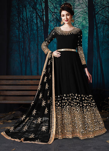 Black Color Faux Georgette Women's Semi Stitched Salwar Suit - RS2021