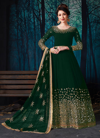 Green Color Faux Georgette Women's Semi Stitched Salwar Suit - RS2023