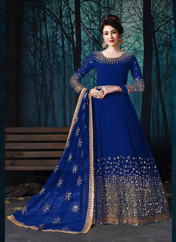 Royal Blue Color Faux Georgette Women's Semi Stitched Salwar Suit - RS2024