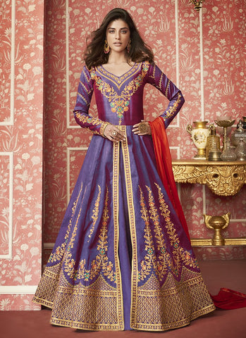 Purple Color Silk Women's Semi Stitched Salwar Suit - RS2030