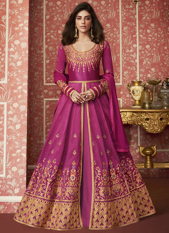 Pink Color Silk Women's Semi Stitched Salwar Suit - RS2031