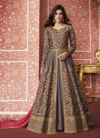 Brown Color Silk Women's Semi Stitched Salwar Suit - RS2032