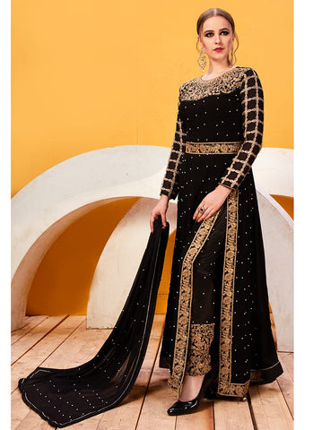 Black Color Faux Georgette Women's Semi Stitched Salwar Suit - RS2038