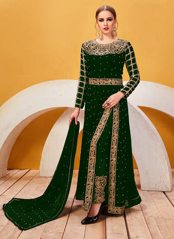 Green Color Faux Georgette Women's Semi Stitched Salwar Suit - RS2040