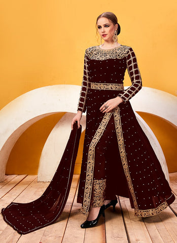 Maroon Color Faux Georgette Women's Semi Stitched Salwar Suit - RS2041