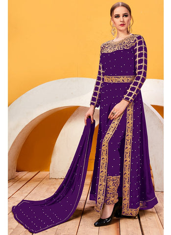 Purple Color Faux Georgette Women's Semi Stitched Salwar Suit - RS2043