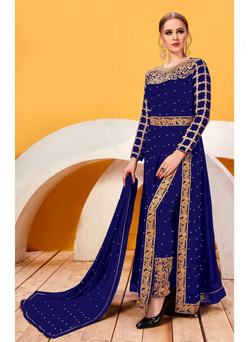 Navy Color Faux Georgette Women's Semi Stitched Salwar Suit - RS2044