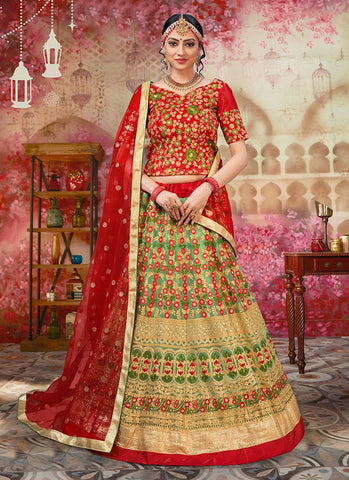 Green and Red Color Heavy Net Women's Semi Stitched Lehenga - RS2046