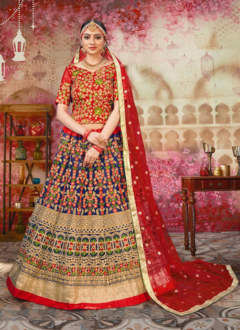 Blue and Red Color Heavy Net Women's Semi Stitched Lehenga - RS2047