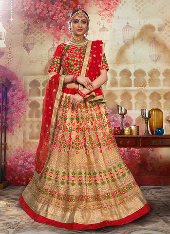 Cream and Red Color Heavy Net Women's Semi Stitched Lehenga - RS2048