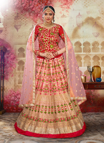 Pink and Red Color Heavy Net Women's Semi Stitched Lehenga - RS2049
