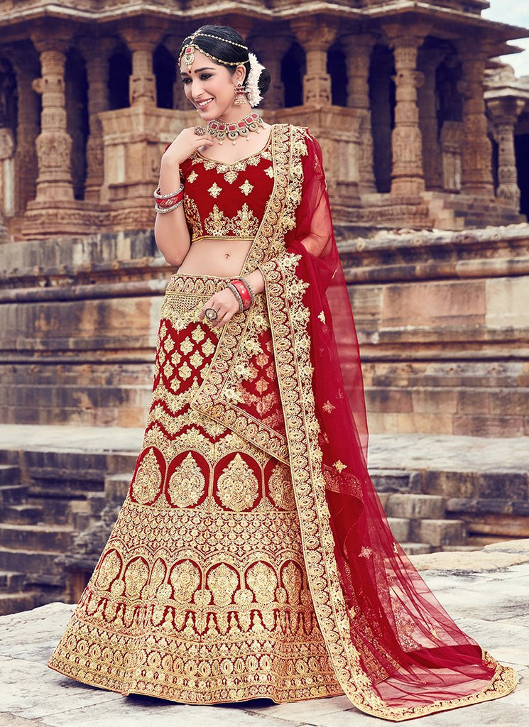 Buy Gold and Maroon Color Velvet Women's Semi Stitched Lehenga