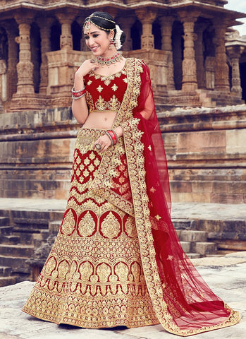 Gold and Maroon Color Velvet Women's Semi Stitched Lehenga - RS2050