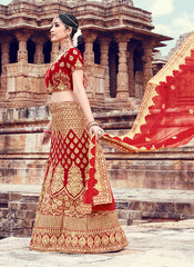 Red Color Velvet Women's Semi Stitched Lehenga - RS2053