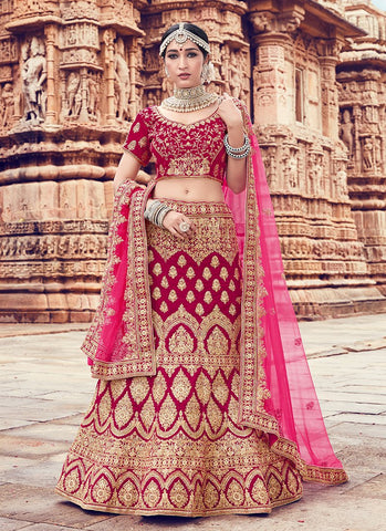Red Color Velvet Women's Semi Stitched Lehenga - RS2057