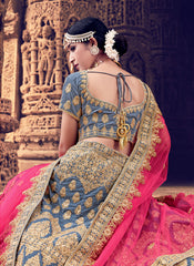 Grey Color Velvet Women's Semi Stitched Lehenga - RS2058