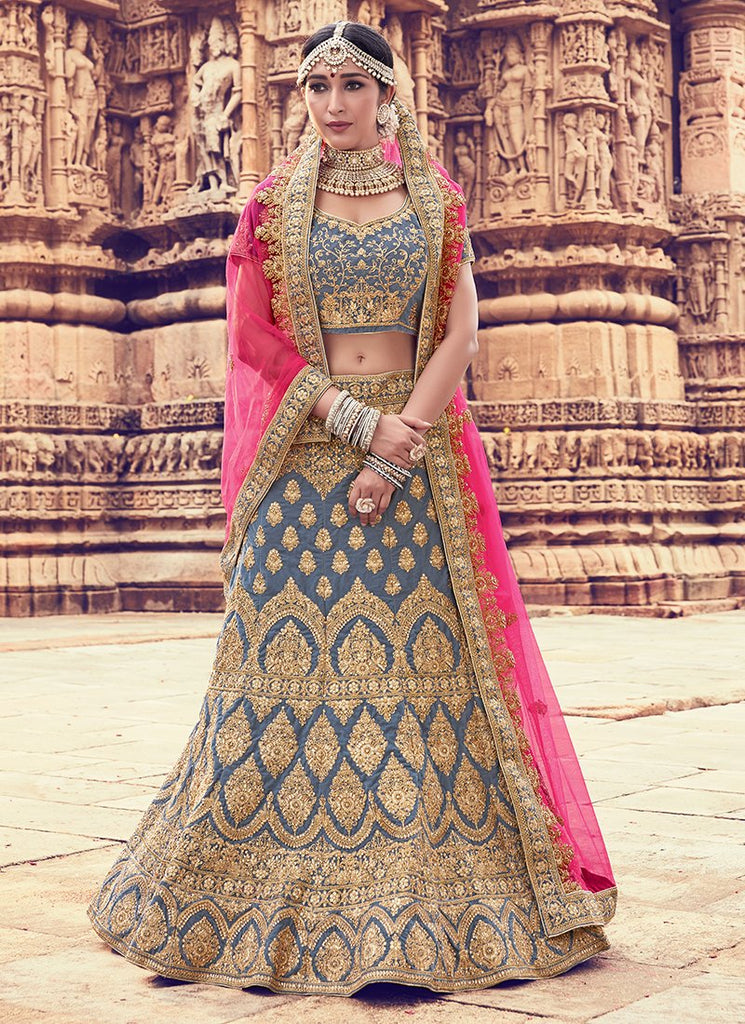 Buy Grey Color Velvet Women's Semi Stitched Lehenga