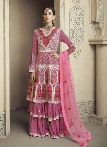 Pink Color Pure Viscose Upada  Women's Semi Stitched Salwar Suit - RS2078